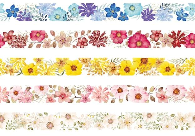 원활한 수채화 꽃 테두리 흰색 배경에 고립의 집합입니다. 수평으로 반복 가능. 무료 벡터
