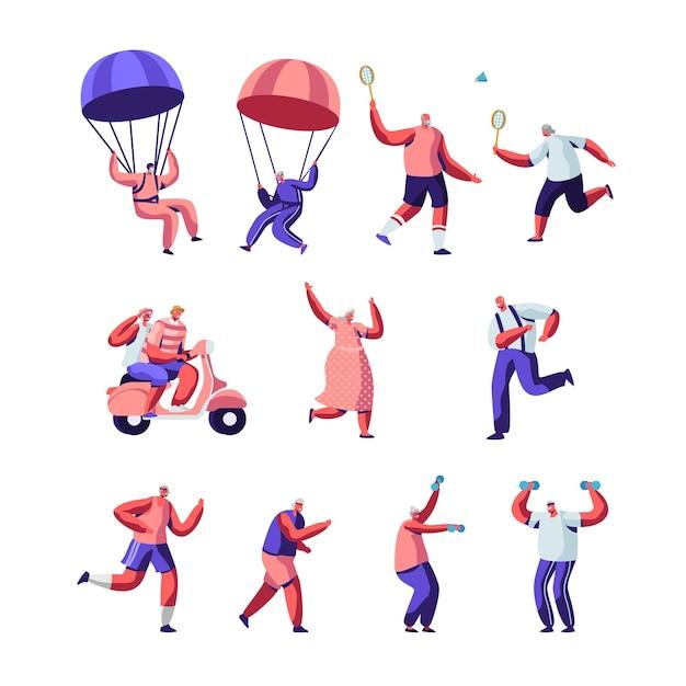高齢者のスポーツ活動と健康的なライフスタイルのセット。スポーツウェアの高齢者は、野外でのエクササイズ、ジョギング、スカイダイビング、バドミントンを一緒にプレイします。 Premiumベクター