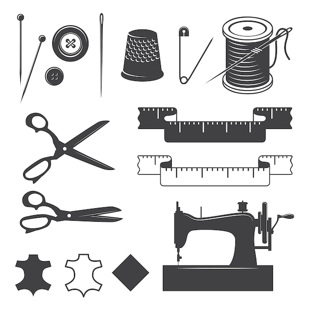 縫製デザイン要素モノクロスタイルのセット 無料ベクター
