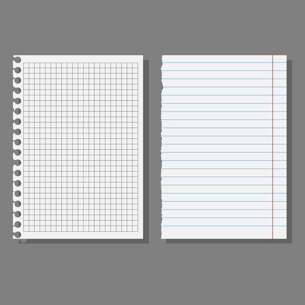 Набор листов, страниц школьных тетрадей. Premium векторы