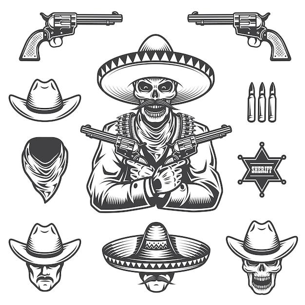 保安官と盗賊の要素と頭のセット。モノクロスタイル 無料ベクター