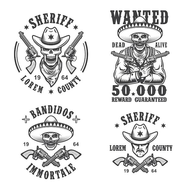 Набор шерифов и бандитов эмблем, этикеток, значков, логотипов и талисманов. монохромный стиль. Бесплатные векторы