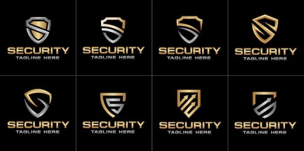 アルファベット文字sと金の盾のセット Premiumベクター