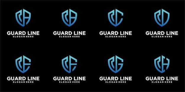 Набор шаблонов логотипа щита Premium векторы