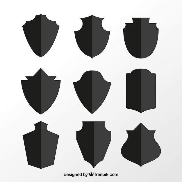 Set of shield silhouettes Free Vector