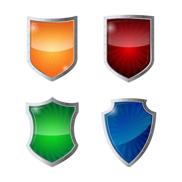 シールド保護、webセキュリティ、ウイルス対策ロゴタイプの概念のセット。クロームフレームの反射光沢のある緑、オレンジ、青、黄赤のシールド。セーフガードポリシーの防衛図 Premiumベクター