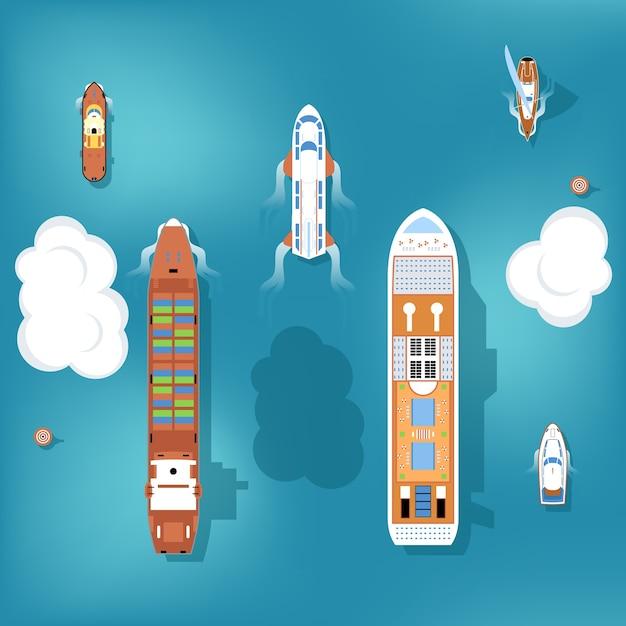 Набор кораблей. вид сверху. Бесплатные векторы