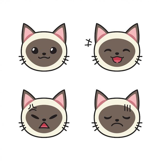 Набор лиц сиамских кошек, показывающих разные эмоции Premium векторы