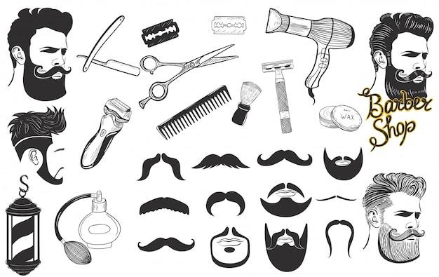 Набор знаков и значков для парикмахерской, изолированные на белом фоне. графика. Premium векторы