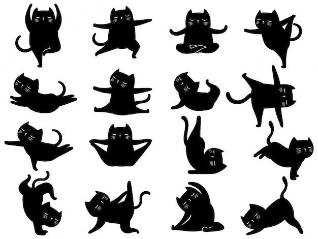 Набор силуэт кошки йоги. сборник различных поз и упражнений котенка для йоги. Premium векторы