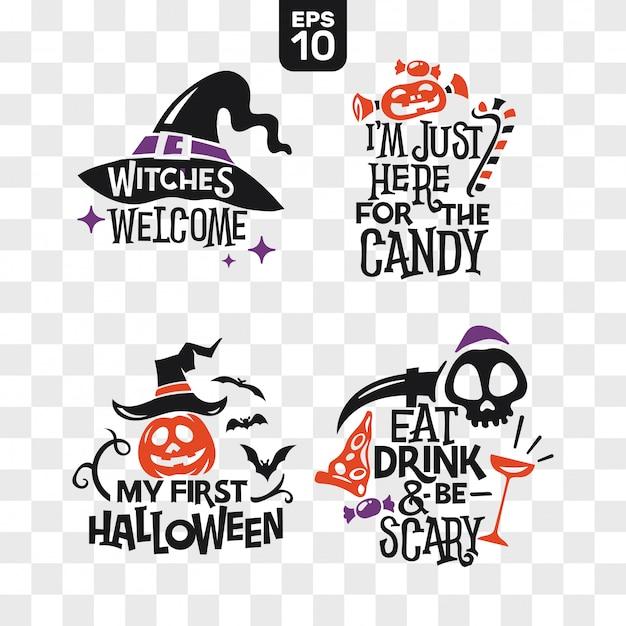 Набор силуэтов хэллоуин иконки с цитатой для украшения партии и резки стикер Premium векторы
