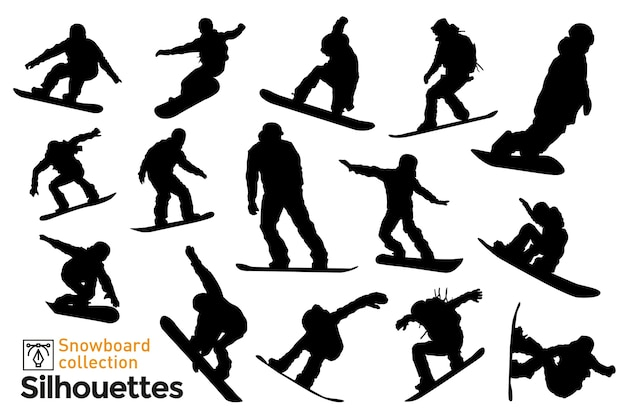 스노우 보드 라이더의 실루엣의 집합입니다. 겨울 스포츠를 연습하는 사람들의 실루엣입니다. 프리미엄 벡터