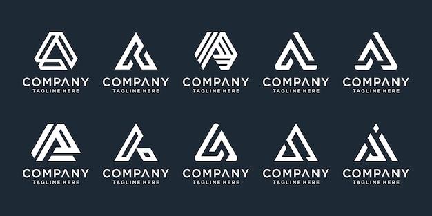 レターaのシンプルでソリッドなレターマークのセット。あなたのビジネスのためのプロフェッショナル品質のグラフィックマーク。活版印刷。文字aロゴ Premiumベクター