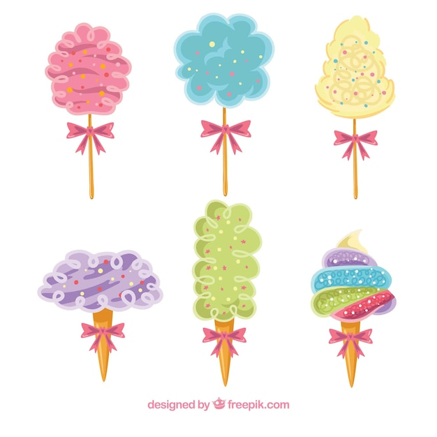 Set of six cotton candy with decorative bow