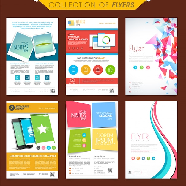 set of six different creative flyers design for business gift box vector psd gift box vector psd