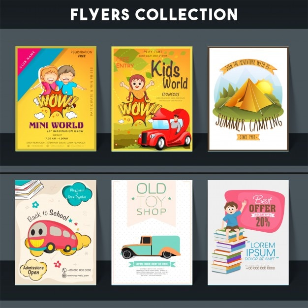 Set of six different flyers of Kids World, Summer Camping, Back to School and Toy Shop