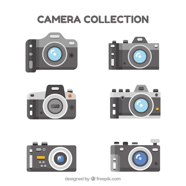 Set of six digital cameras in flat design