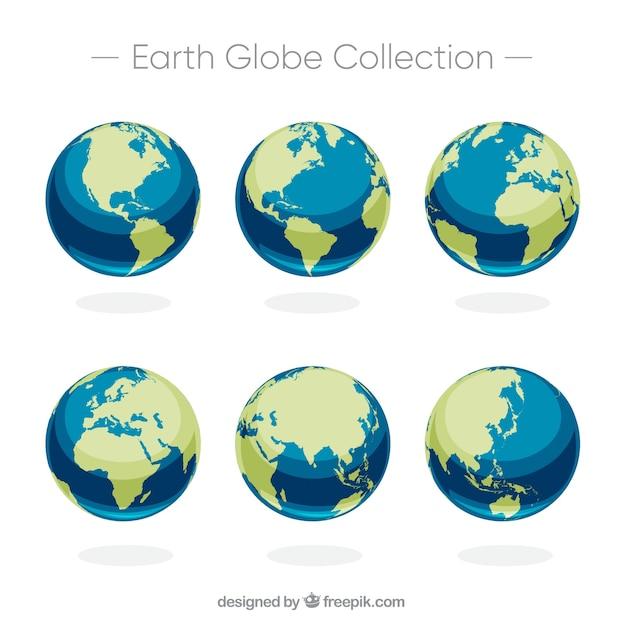 6つの地球の球のセット 無料ベクター