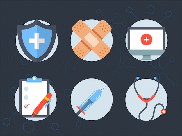 Set of six elements for Health and Medical\ concept.