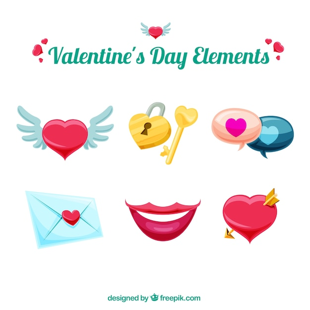 Set of six elements ready for valentine's day Free Vector