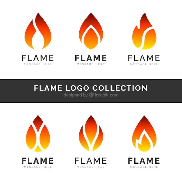 set of six flame logos in flat design vector free download rh freepik com flame logo on fr clothing flame logo maker