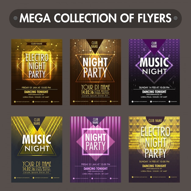 Set of six glossy flyers, templates or invitation cards design for Music Night Party celebration Premium Vector