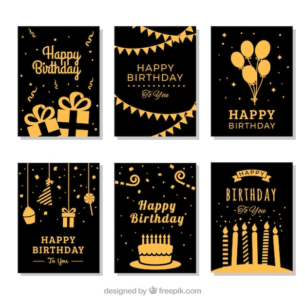Set Of Six Golden Birthday Cards Vector Free Download