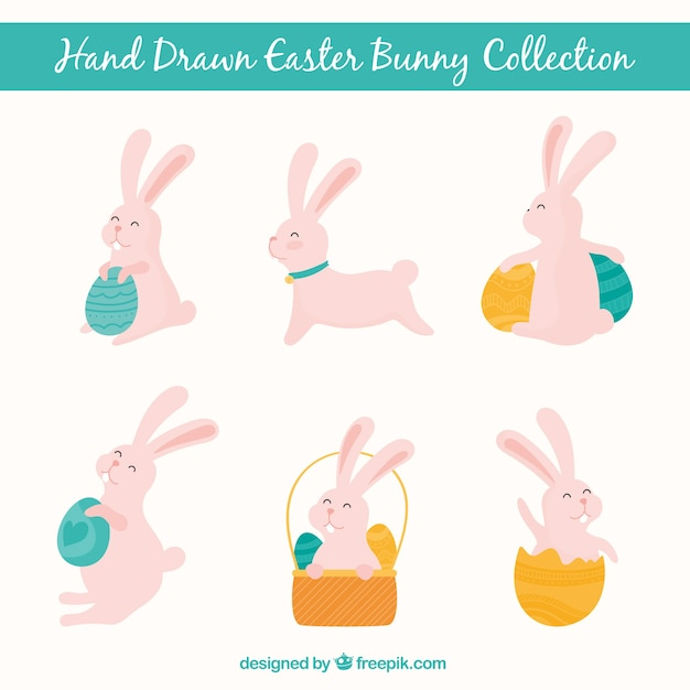 Set of six hand-drawn rabbits for easter day