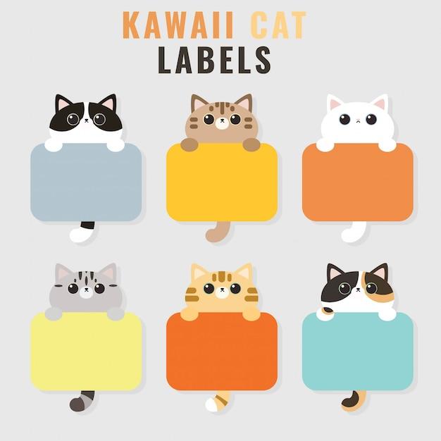 Набор из шести рамок для фотографий kawaii cute cat photo Premium векторы
