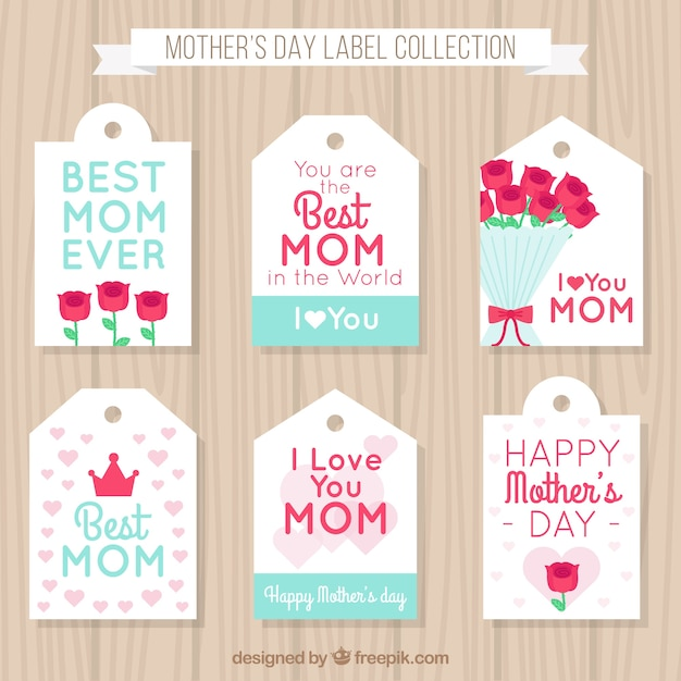 I Love You Mom Happy Mothers Day Flyer Template Psd Free: Set Of Six Mother's Day Labels With Flowers And Hearts