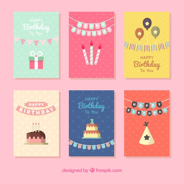 Set Of Six Pretty Birthday Cards Stock Images Page Everypixel
