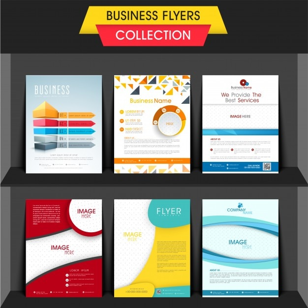 Set of six professional business flyers or templates design with space to add your image