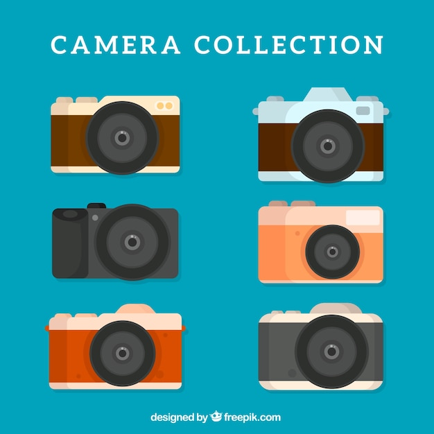 Set of six retro cameras in flat design