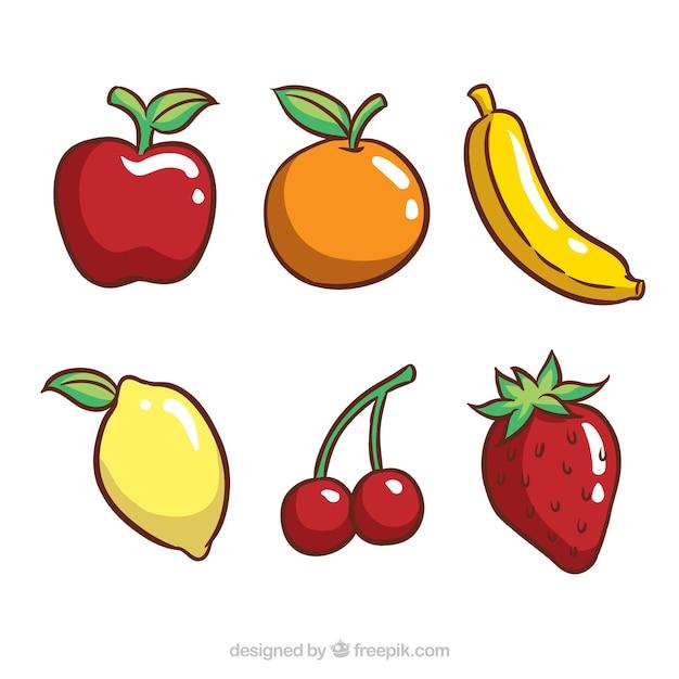 Набор из шести вкусных фруктов Бесплатные векторы
