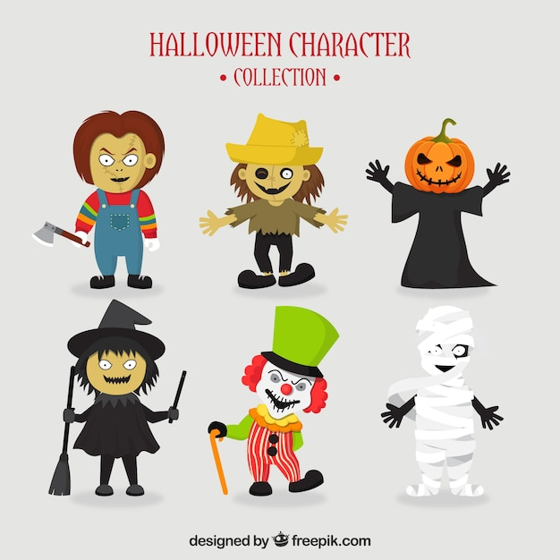 Set of six typical halloween characters Vector | Free Download