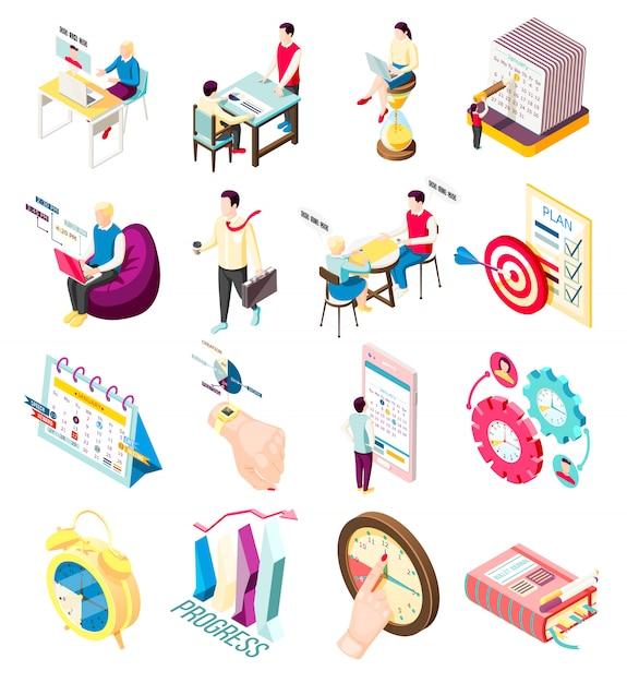 Набор из шестнадцати изолированных эффективных концепций управления изометрические иконки с личным органайзером предметов и людей персонажей Бесплатные векторы