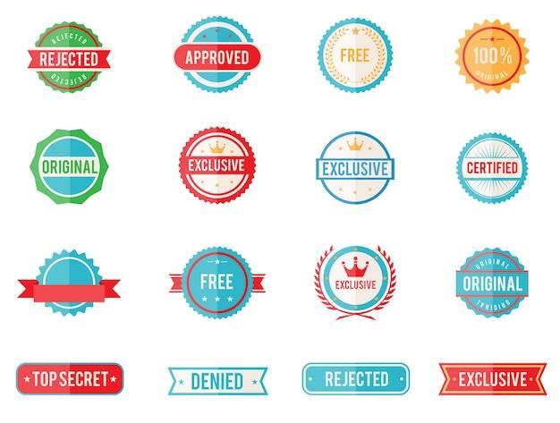 Набор из шестнадцати векторных цветных эмблем и марок в плоском стиле с изображением отклоненных утвержденных Бесплатные векторы
