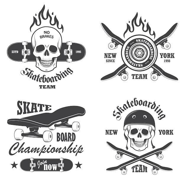 スケートボードのエンブレム、ラベル、デザイン要素のセット。セット1 無料ベクター