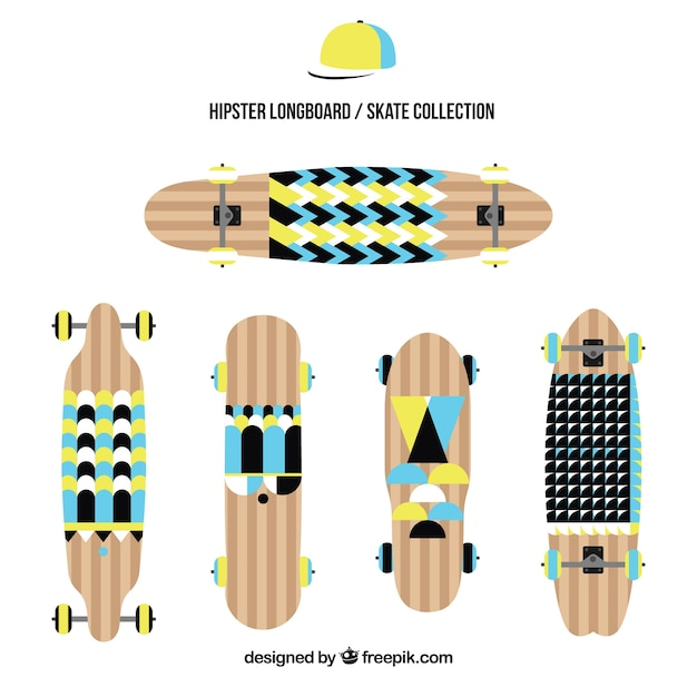 Set of skateboards with geometric shapes