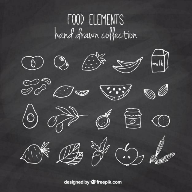 مجموعه ای از طرح میوه ها و سبزیجات با اثر تخته سیاه