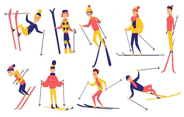 Набор лыжников. зимний спортсмен в разных позах на горнолыжном курорте. мужчины на горнолыжном курорте. зимний спорт. мужские элементы дизайна лыж. лыжник прыгать, стоять, падать, кататься Premium векторы