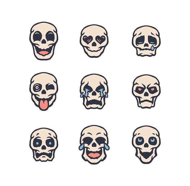 해골 Emojis 세트 프리미엄 벡터