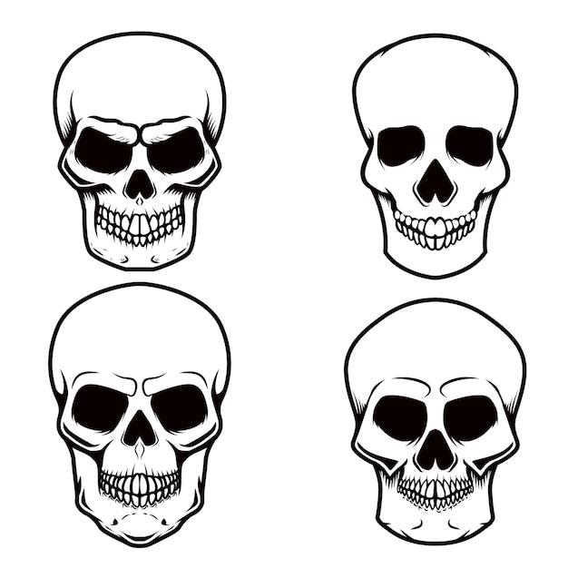 白い背景の上の頭蓋骨のイラストのセットです。ロゴ、ラベル、エンブレム、サイン、ポスター、tシャツの要素。画像 Premiumベクター