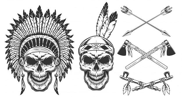 Набор черепа в индийских головных уборах Бесплатные векторы