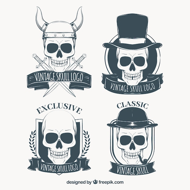 Set of skull logos with hand drawn ribbons Free Vector