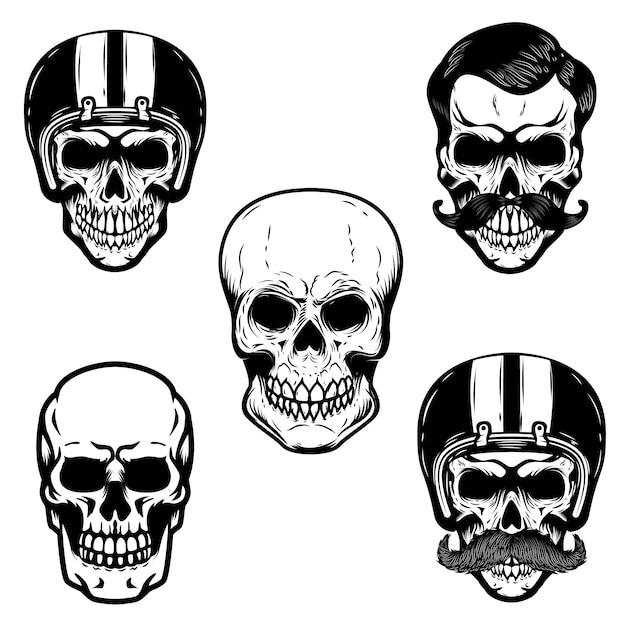 Набор черепов на белом фоне. череп в гоночном шлеме. для эмблемы, знака, логотипа, ярлыка, значка. образ Premium векторы