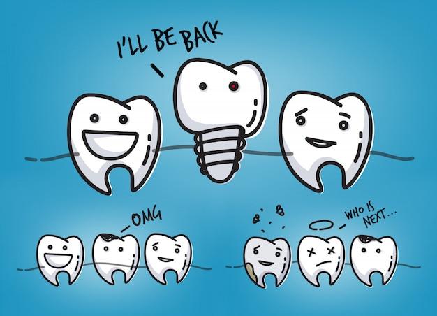涼しい青い背景に描く小さな漫画の歯文字のシーンのセット。 Premiumベクター