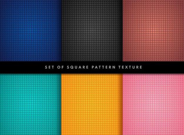 小さな正方形のパターンのカラフルなデザインのセット Premiumベクター