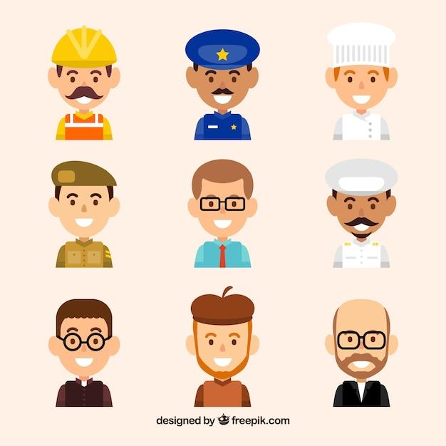 Set of smiley men avatars