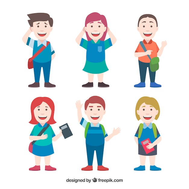 Set of smiley students with flat design